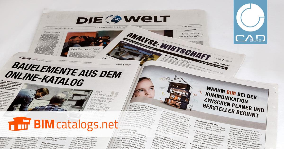 DIE WELT veröffentlicht Bericht über BIMcatalogs.net