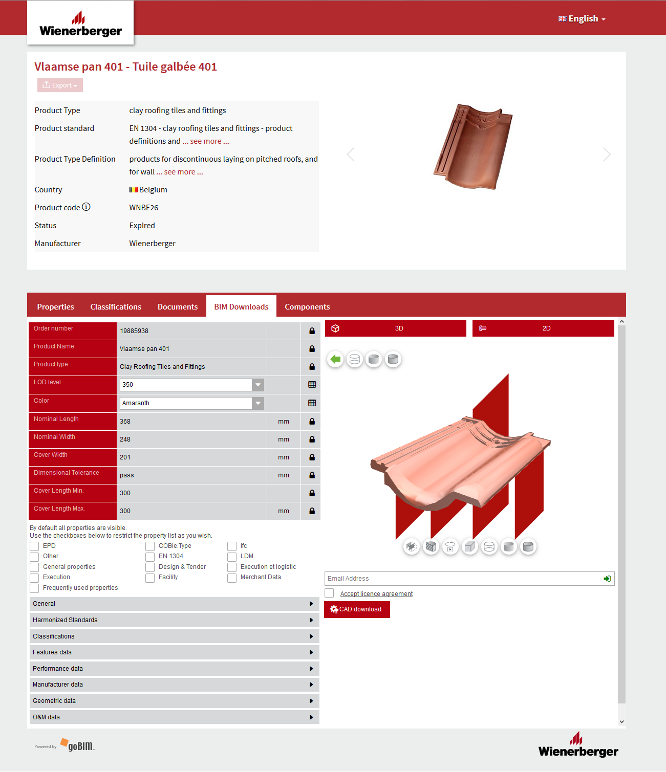 A preview of Wienerberger's product data platform: CADENAS (3D BIM models) & coBuilder (attributes)
