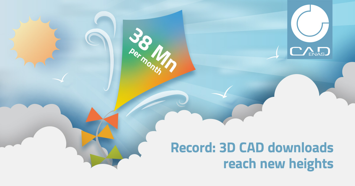 3D CAD downloads still on the upwind - CADENAS records over 38 million downloaded CAD models per month for the first time