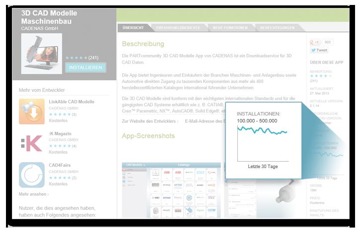 Über 270000 Downloads der PARTcommunity 3D CAD Modelle App von CADENAS