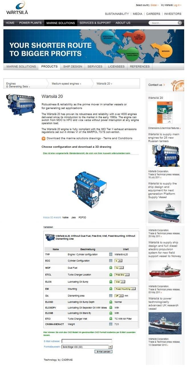 Seamless integration of the 3D CAD download portal in the Wärtsilä