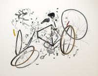 In seine Einzelteile zerlegtes Fahrrad von Fotokünstler Todd McLellan
