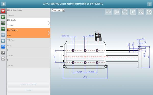 3D CAD Modelle App von CADENAS mit Maßansicht