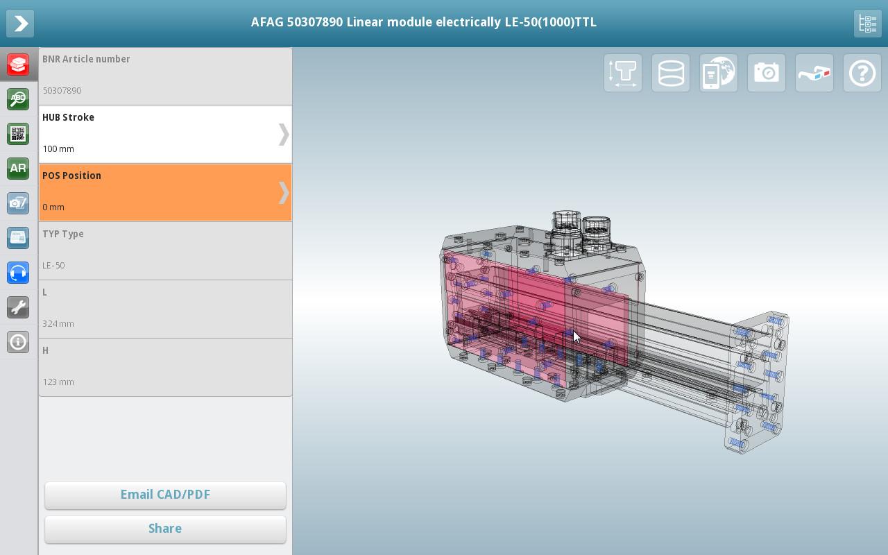 3D CAD Modelle App von CADENAS mit Transparenzfunktion