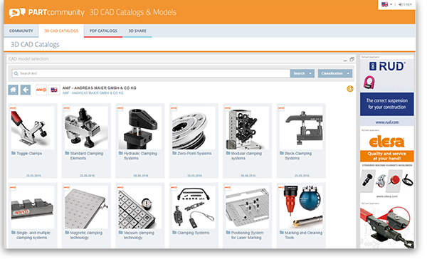 With bigger tiles and images of the 3D CAD models, PARTcommunity users obtain a bigger overview and the usability is simplified.