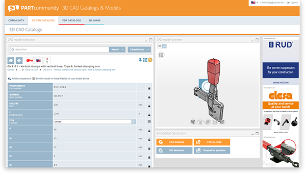 New version 6.0 of the 3D CAD download portal PARTcommunity with numerous features and improvements.