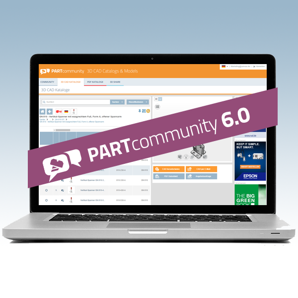 New version of the 3D CAD download portal PARTcommunity with numerous features and Improvements