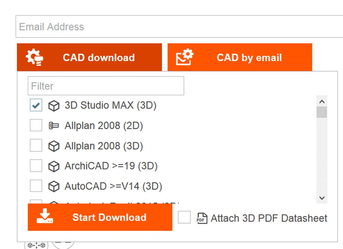 Registration process, simultaneous download of several CAD formats, faster selection of the CAD formats, providing a 3D PDF data sheet and more simplified, quicker download in a compact ZIP format.