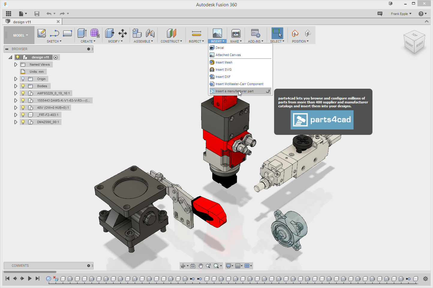parts4cad in Autodesk Fusion 360